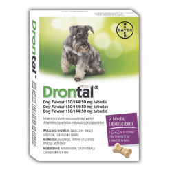 BAYER DRONTAL DOG FLAVOUR 150 mg + 144 mg + 50 mg PUDELKO - 2 TABL.